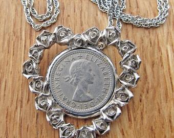 Vintage Silvertone 1956 Sixpence Pendant Necklace Heart Shaped Frame Queen Elizabeth