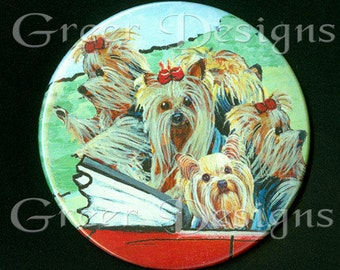 Purse Mirror Yorkies in Red Convertible 2 sizes available