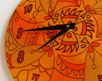 Wicked Orange Wall Clock - Geometric Mandala Painting on Recycled Vinyl Record