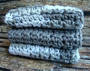 Gray Wash Cloth Set - Crochet Face Towels - Cotton Washcloths - Bathroom Decor - Knit Hand Towel - Eco-Friendly - 100% Cotton Facecloth