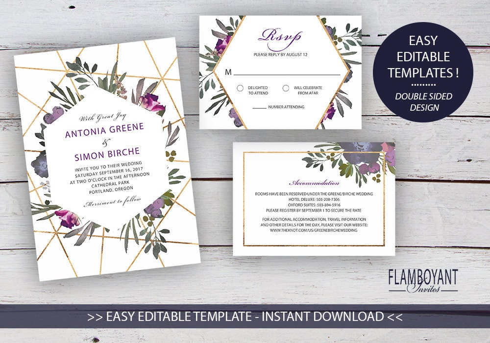 Muted Floral DIY Printable Invitation Suite Templates, Floral ...