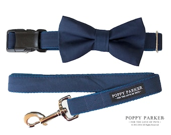 Navy Dog Bow Tie - Optional Matching Leash and Collar - Marine - Dog in Wedding By Poppy Parker