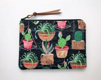 Succulent cactus zipper bag - small cosmetic pouch - modern cactus zipper pouch - unique gift ideas for her - dark blue purse