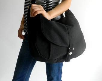 Black canvas messenger bag ,Women diaper bag Cross body shoulder bag, School bag ,Women canvas Purse /Sale 25 % - no.12 KYLIE