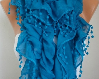 Blue Ruffle Cotton Scarf,Summer Fashion, Bohemian,Birthday Gift Cowl Scarf Gift For Her, Women's Fashion Accessories Bridesmaid Gift
