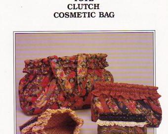 Ghee's Tote  Bag  Pattern , Ruffled Edge Clutch Pattern and Cosmetic Bag Sewing Pattern, Ghee's 851,  Vintage 1988