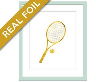 Tennis Racquet Art Print - Gold Foil Print - Tennis Poster - Sports Art Print - Gold Foil Sports - Gift for Athlete - Tennis Nursery Art