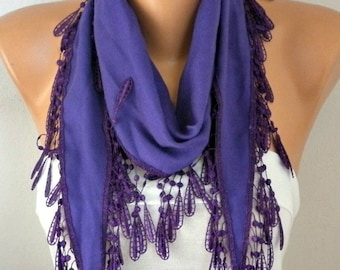 Purple Pashmina Scarf,spring,wedding scarf,gift for her,Cowl Scarf with Lace Edge - fatwoman