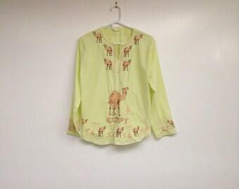 Vintage Soft Cotton Handmade Embroidered Egypt Camels Top