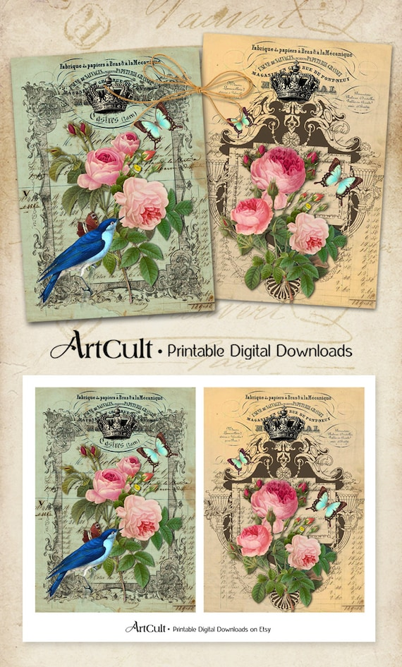 Printable Download SHABBY CHIC ROSES Digital Collage Sheet 5x7