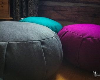 Plain Meditation Cushion Traditional zafu filled with Organic buckwheat hulls - Handmade by Creations Mariposa