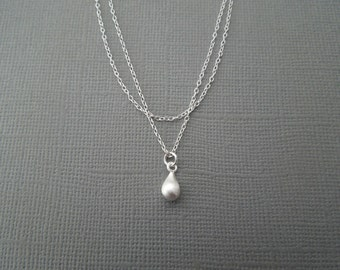 tiny silver necklace - Delicate necklace - Simple necklace - Tiny teardrop, two tier, layered necklace, double strand, multi strand, N80