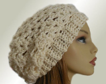 SLOUCHY Hat Cream Crochet Knit Wool Winter White Light Cream Slouchy Beanie Hat Slouch Beany Vanilla Women Hats