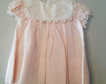 Vintage 50s Girls Pink Dress with White Swiss Dot Collar by C.I. Castro- Size 12 Months - New, never worn