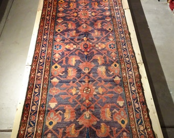 "Vintage Persian Rug 1930's HAMEDAN 3' 7"" x 13' 8"" Handmade, Hand-knotted, Natural Dyes, Bohemian, Boho Chic, Made in Iran 841m"