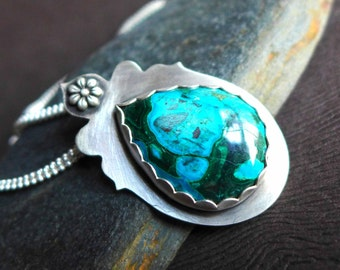 Chrysocolla Necklace, Blue Green Gemstone Bezel Set Silver Necklace, Mother's Day Gift, Artisan Gemstone Silver Necklace Pendant,