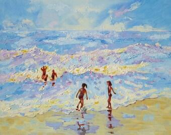 Family Beach Painting. Original Art. Seascape Painting. Family Portrait. Wall Art. Impressionist Oil Painting. Wall Decor. Coastal Wall Art.