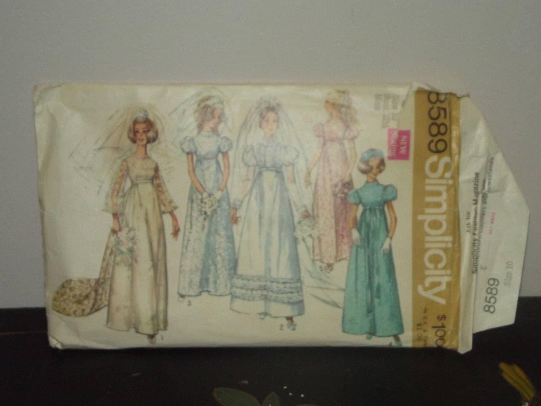 Vintage 1960s Simplicity 8589 Empire Puff Sleeve Wedding Dress
