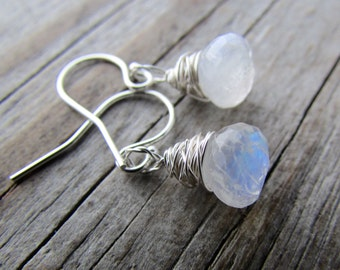 Moonstone Earrings, rainbow moonstone, faceted, drop briolettes, wire wrapped earrings