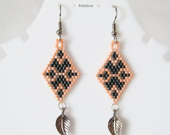 Woven earrings beads Miyuki-grey & ORANGE