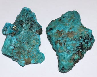 2pc Rare 12.2g Authentic Natural Raw Morenci Turquoise w/ Pyrite Crystal Nugget Set - Morenci, Arizona, USA - Item:TQ17049