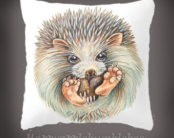 """Throw Pillow Cover with pillow insert Indoor - fine art -living room - childrens room - nursery - babies - """""""" Hedgehogball """""""""""