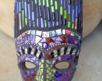 Colorful and Striking Stained Glass Mosaic Mask Wall Art