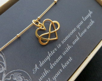 Gift for daughter on wedding day, Entwined infinity necklace, infinity heart necklace, gold or sterling silver, gift for bride