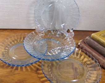 Fortecrisa - Blue Glass Saucers - Ribbed Lip - Scalloped Edge - Set of Four (4)