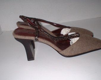 BANDOLINO Brown Wool & Snakeskin Strap Slingbacks Pumps Heels Shoes Size 7.5 M