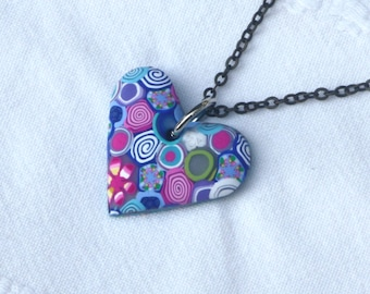 Heart pendant colorful necklace, polymer clay millefiori, with a brass chain