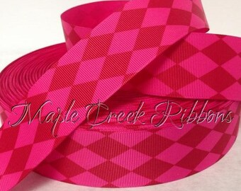 "1-1/2"" Red,  and Hot Pink Harlequin Print Grosgrain Ribbon 1-1/2"" x 1 yard"