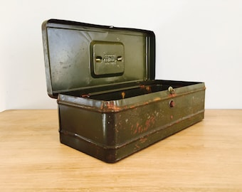 Vintage Industrial Metal Army Green Storage Box by Climax