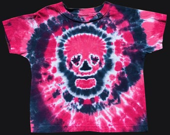 3T Toddler Tie Dye Shirt Pink Skull Pink Skull with Fuschia and Cobalt Spiral