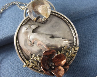 At Home Amidst the Flowers Necklace - Sterling Silver Raven with Copper Flower and Phantom Quartz