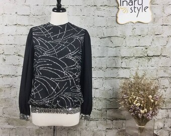 Vintage Jamboree Black Long Sleeve Blouse Size 10