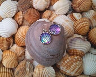Mermaid style earrings, fish, flakes, mermaid, earrings.