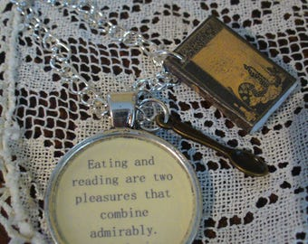 Book Nook, Book Quote Necklace, Quote Necklace, C.S. Lewis, Handmade Book, Eating and Reading Quote, Literature Necklace, MarjorieMae