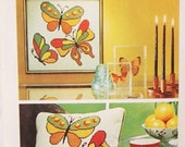 Retro 70s DECOR Needlepoint Pattern Simplicity 5893 Butterflies Wall Hanging or Cushion Covers Decorative Accessories Vintage Pattern