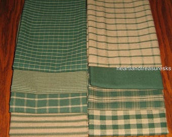 Dunroven House 8 Primitive Homespun Hunter Green / Wheat Fabric Fat Quarters