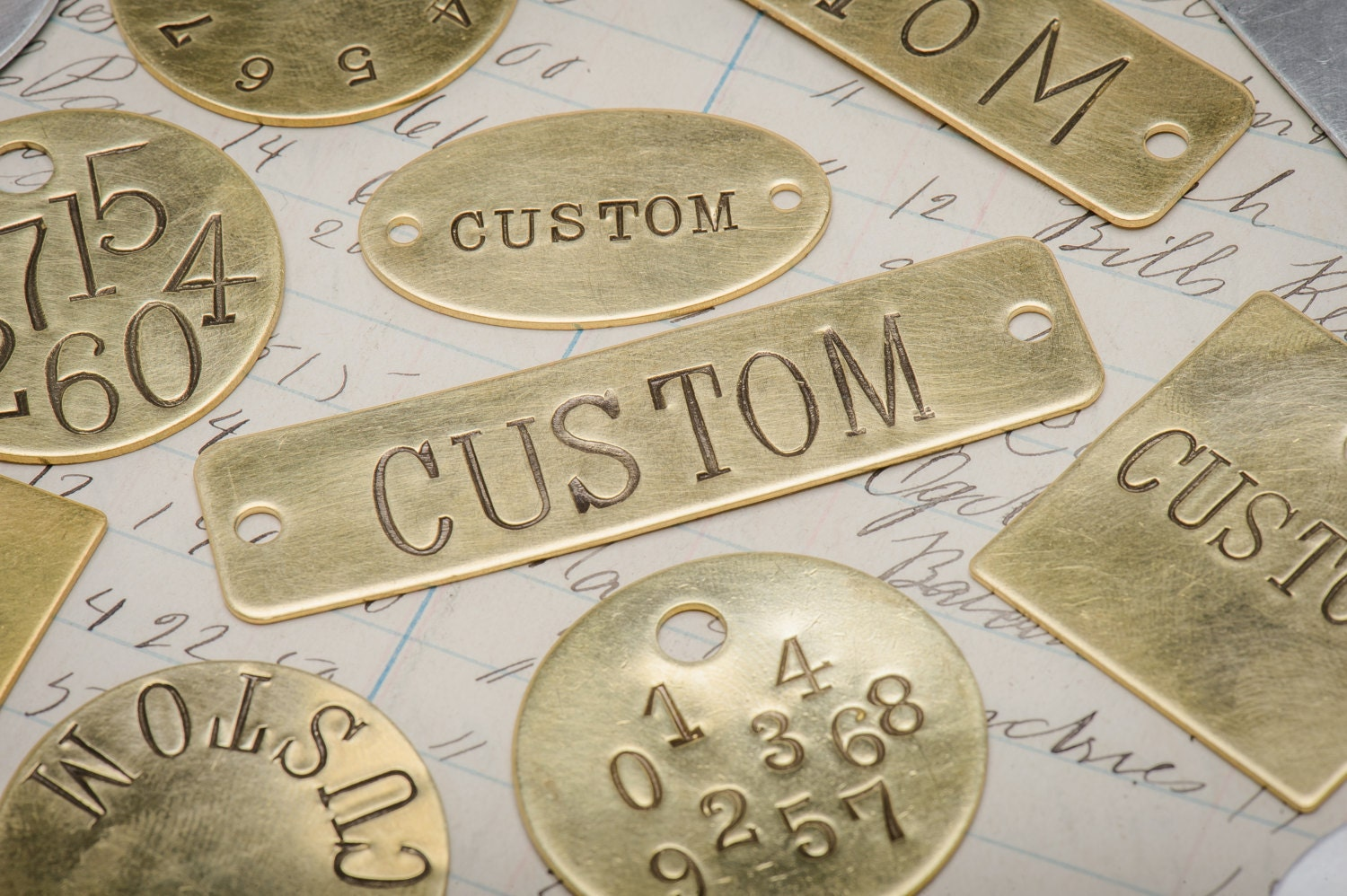 Custom hand punched brass and metal tag hand stamped key for Custom tags for crafts