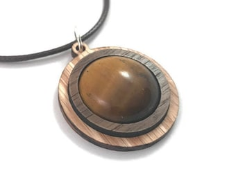 Tigers Eye and Wood Simple Circle Pendant - Natural Sustainable Wooden Necklace with 20mm Genuine Gemstone - Walnut on Oak