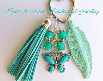 Butterfly Keychain, Turquoise Butterfly Keychain, Keychain Tassel, Keyring Leaf, Bagtag Butterfly, Bagtag Tassel