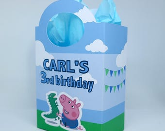 Personalised George Pig Party Boxes, Bags, Favor, Treat, Goodie, sweets, Gift Boxes, Pink, With Tissue paper