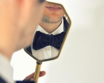 Dark Blue Bow Tie. Velours Bow Tie. Groom's Bow Tie. Bow tie for Men. Groomsmen's Bow Tie