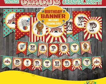 Instant Download!Circus Birthday Party Banner-Vintage Circus Party Banner-Carnival Birthday Party banner-Printable Carnival Party Decoration