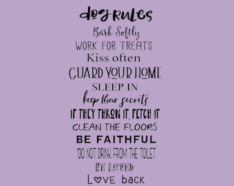 Dog Rules vinyl wall decal