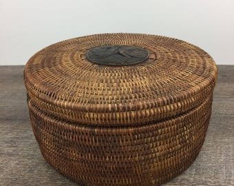 Vintage Inuit Hand Woven Basket with Lid Carved Wood Round Lidded Wood Base