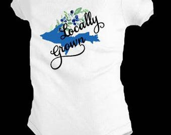 Locally Grown shirt, Blueberry baby apparel, blueberry apparel, Michigan baby gifts, Upper Michigan gifts, Michigan baby