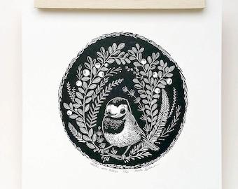 Oiseau Bergeronnette imprimer, art d'oiseau Bergeronnette, illustration oiseau Bergeronnette